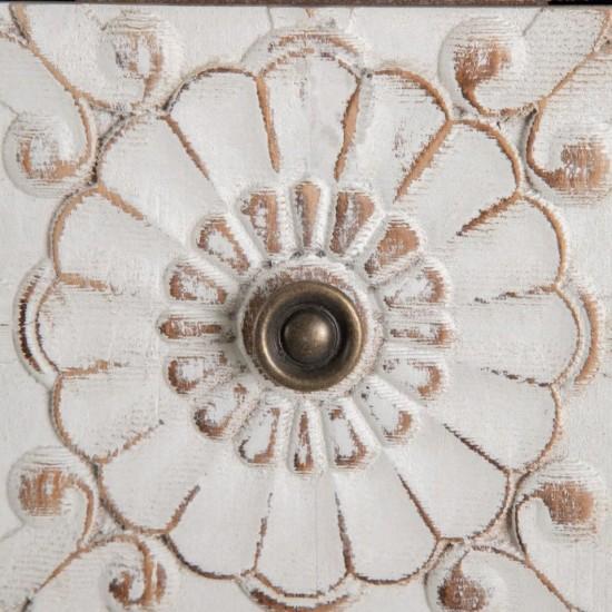 Noptiera din lemn sculptat, model floral, 3 compartimente,  Casia, 600450