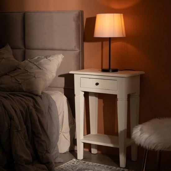 Noptiera alb din lemn, cu sertar si polita, Dafne, 601426