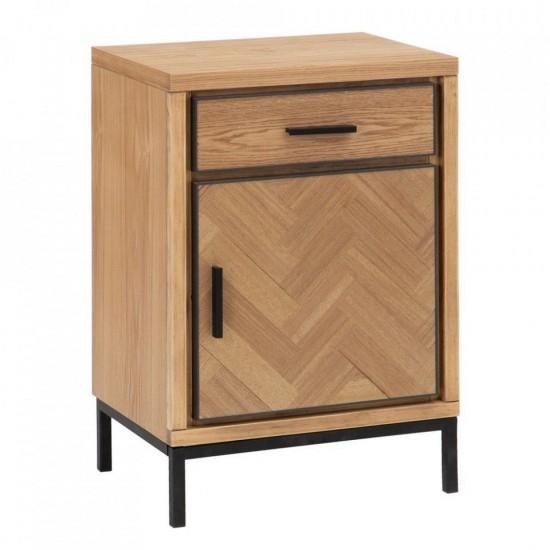 Noptiera din lemn si metal negru, 2 compartimente, Daira, 601579