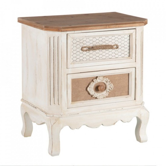 Noptiera din lemn alb si maro, 2 sertare, Doria, 153047