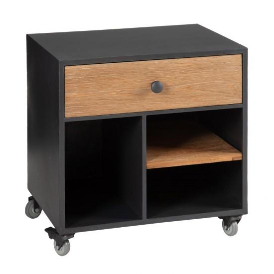 Noptiera neagra pe roti, lemn si metal, 4 compartimente, Estela, 153024