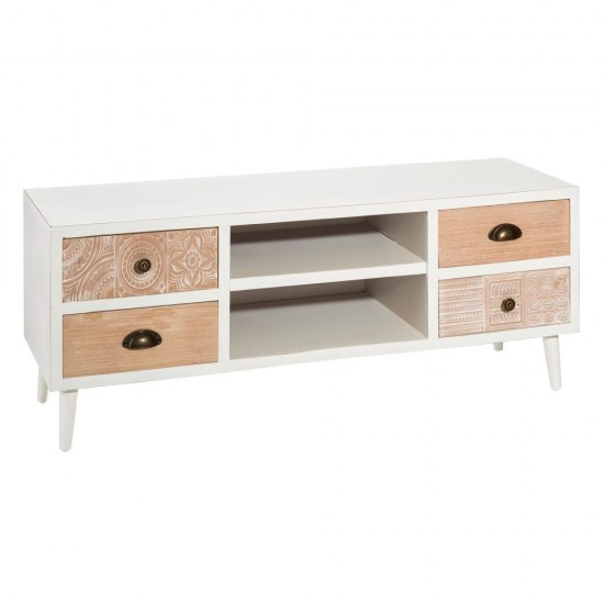Comoda alba pentru TV din lemn, 6 compartimente, Fiona, 106457