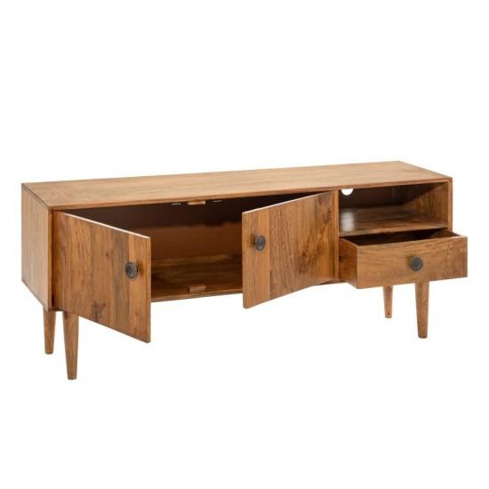 Comoda pentru TV din lemn maro, 3 compartimente, Flor, 152790