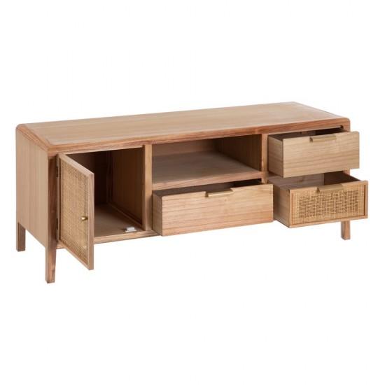 Comoda pentru TV din ratan si lemn natur, 5 compartimente, Gladis, 602574