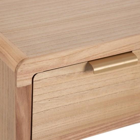 Comoda pentru TV din ratan si lemn natur, 3 compartimente, Gladis, 602575