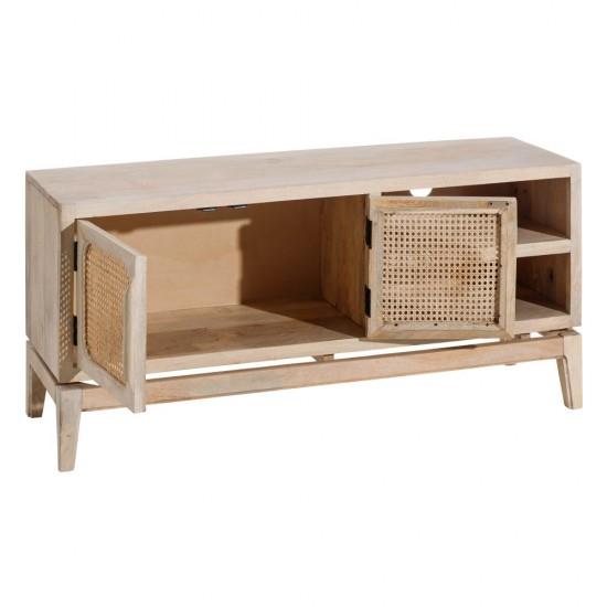 Comoda pentru TV din lemn natur, 3 compartimente, Ines, 121991