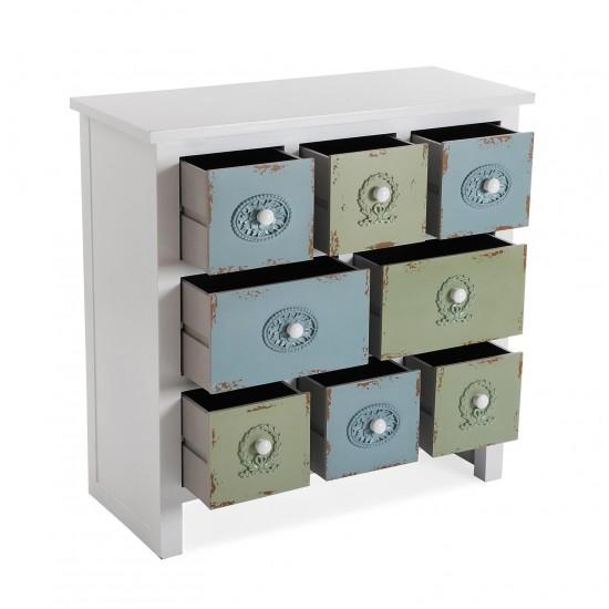 Comoda alba cu 8 sertare verde/albastru, ISABELA, 21260076