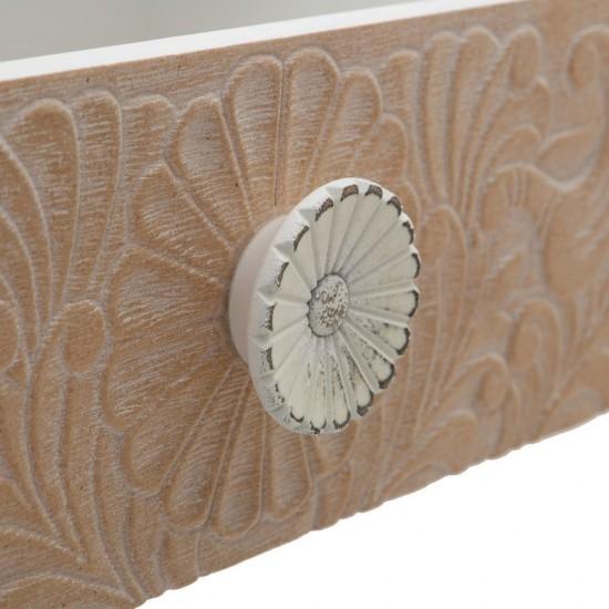 Comoda pentru TV alba din lemn, 6 sertare model sculptat, Ivana, 600528