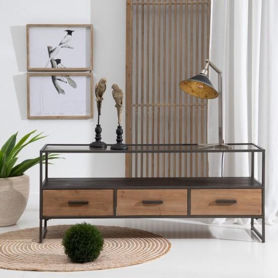 Comoda pentru TV, lemn si metal negru, 3 sertare, Jasmin, 602525