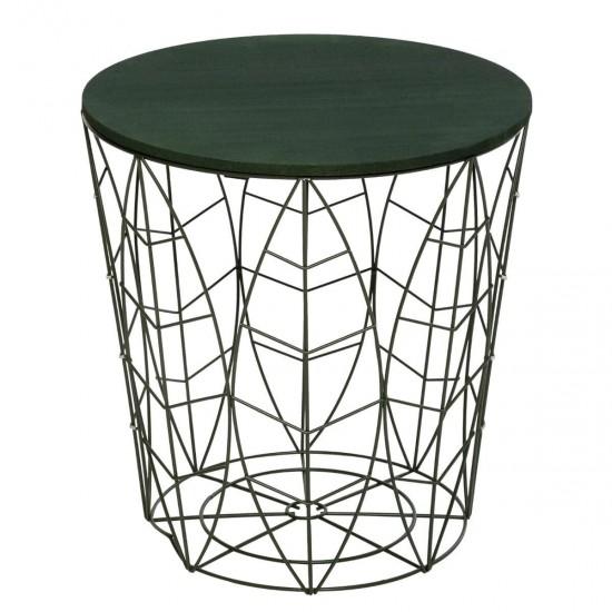 Masuta cafea Kumi, metal verde, blat MDF verde, D.40cm, 166579B