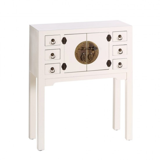 Consola din MDF alb, 7 compartimente, Lana, 64531
