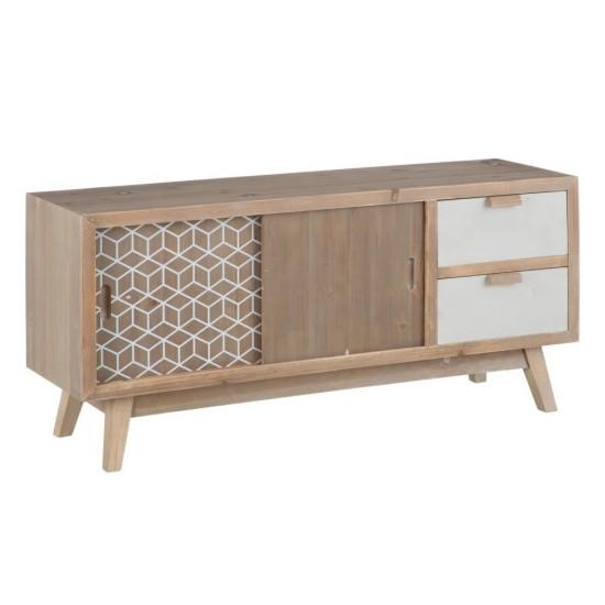 Comoda pentru TV din lemn de pin si MDF, 3 compartimente, Marla, 601926
