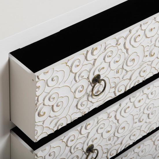 Comoda alba din lemn cu 3 sertare, NANAKO, 21600073