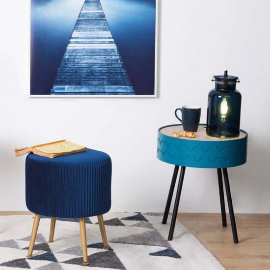 Masuta cafea cu spatiu depozitare, metal negru si MDF albastru, Shiro, 166584C