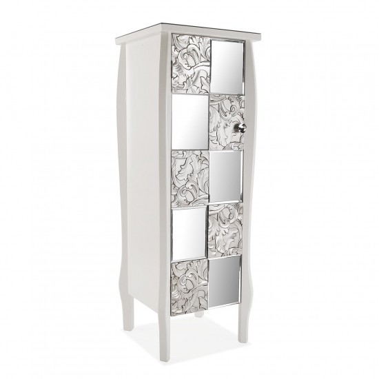 Comoda alba din lemn cu 3 rafturi, front oglinda si lemn argintiu, Milen