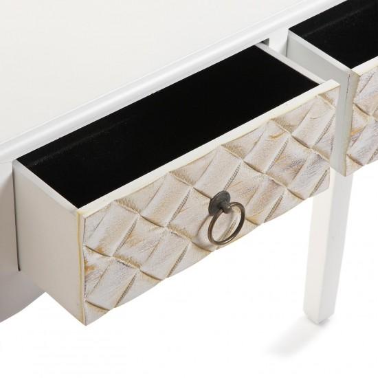 Consola alba din lemn si MDF cu 2 sertare, AVILA, 21600083