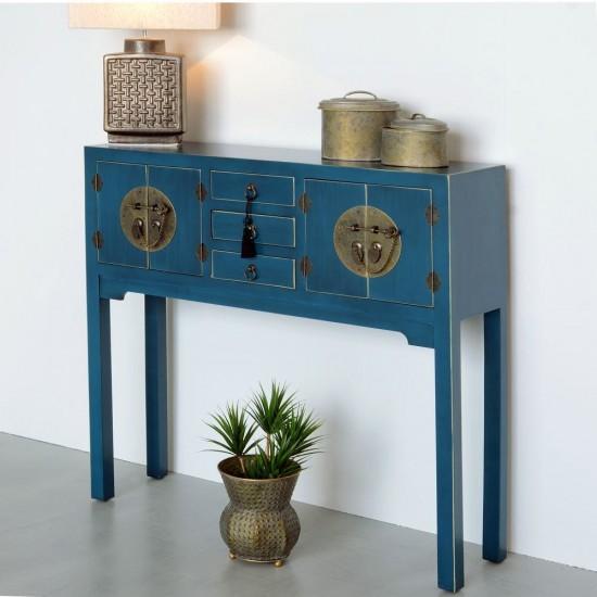 Consola albastra cu detalii aurii, 5 compartimente, Azul, 90953