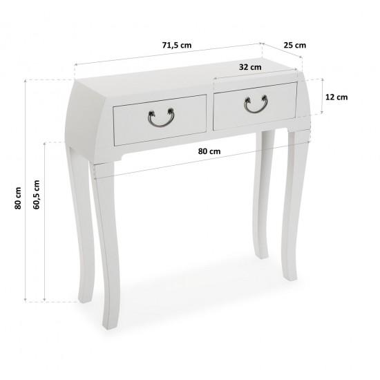 Consola alba din lemn si MDF cu 2 sertare, BRAN, 21600052