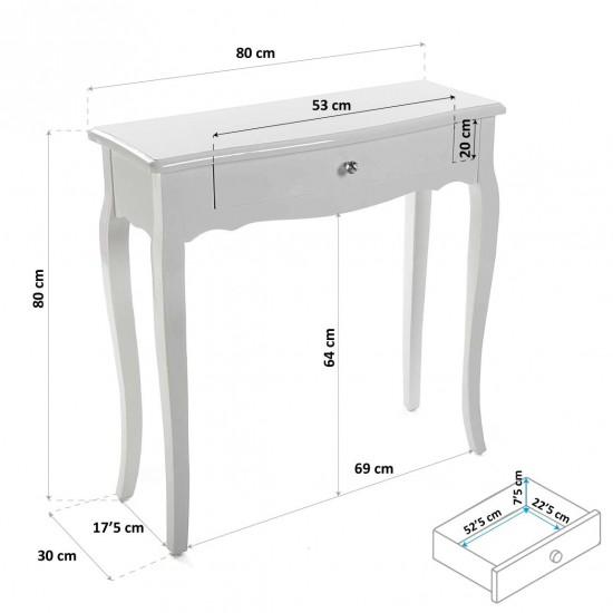 Consola alba din lemn si MDF, cu sertar, Cagliari, 21260002
