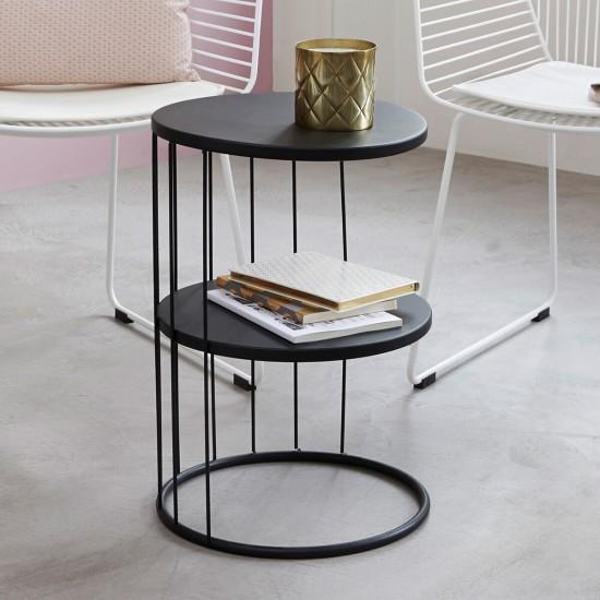 Masuta neagra din metal, rotunda, Kobu, 157206A