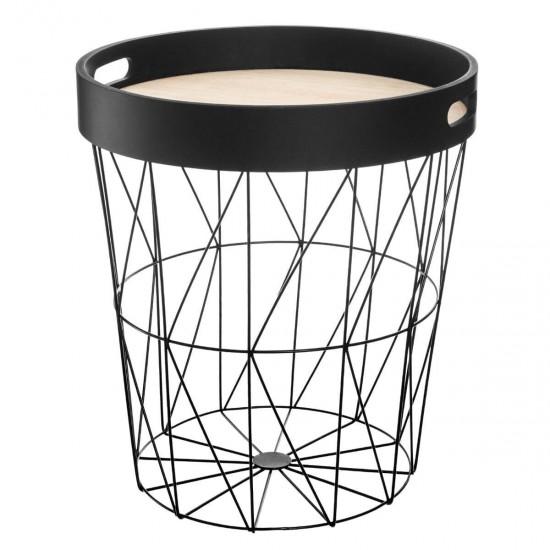 Masuta de cafea, metal negru, blat MDF, Kumi, 157144B