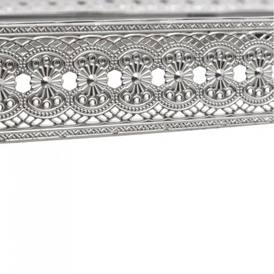 Consola argintie din metal si sticla, Luiza, 152330