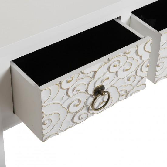 Consola alba din lemn cu 2 sertare, NANAKO, 21600071