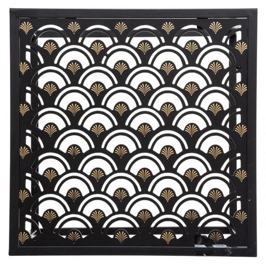 Set 2 masute cafea, patrate, metal negru si sticla, Peacock, 166526