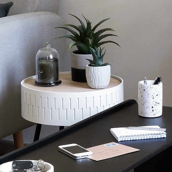 Masuta cafea cu spatiu depozitare, metal negru si MDF alb, Shiro, 166584A