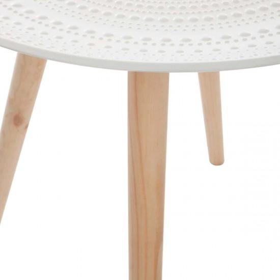 Masuta cafea Mileo, blat din MDF alb, picioare din lemn natur, D.49.5 cm, 140491
