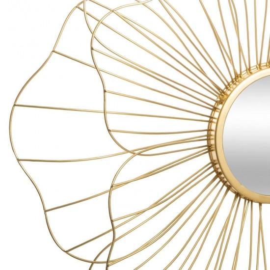 "Oglinda de perete ""Fleur"", metal auriu D56 cm, 173853"