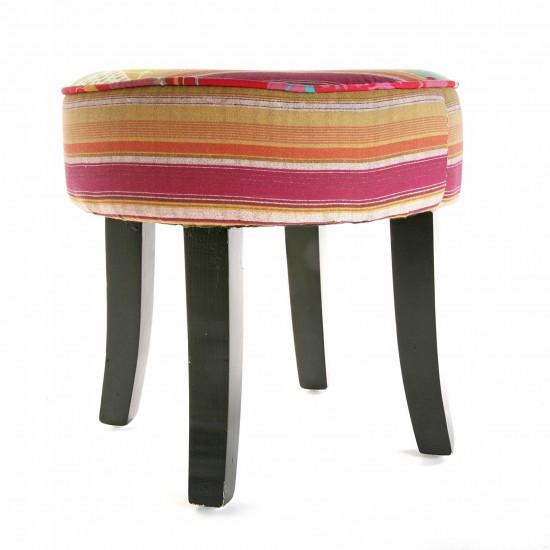 Taburet rotund cu picioare din lemn, tapiserie stofa, Taylor