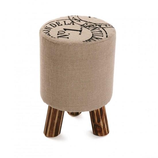 Taburet rotund cu picioare din lemn, textil, Maverick