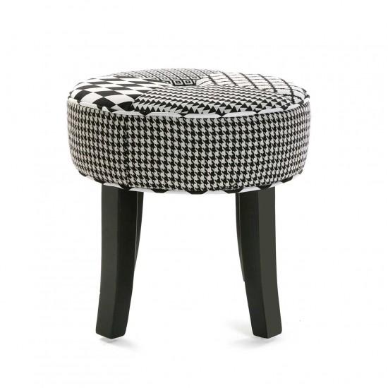Taburet rotund cu picioare din lemn, model geometric, Xavier