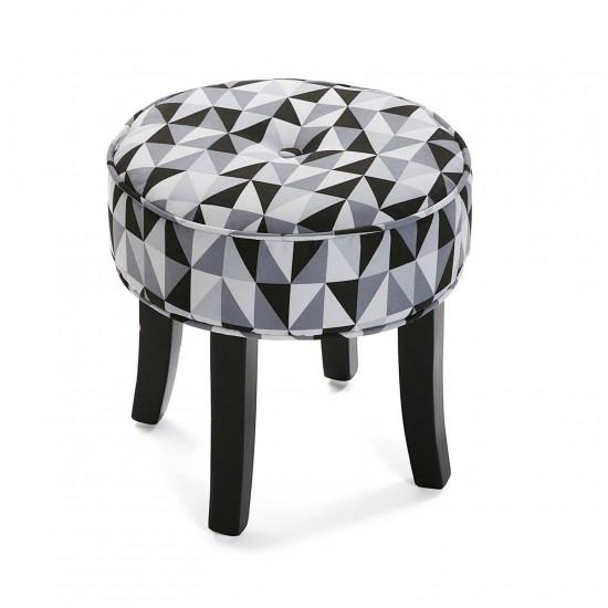 Taburet rotund cu picioare din lemn, model geometric, Cooper