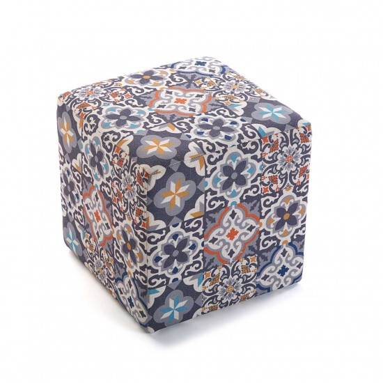 Taburet patrat cu model geometric, Isaac
