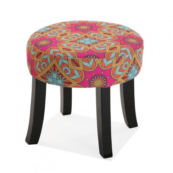 Taburet rotund cu picioare din lemn, model multicolor, Aubrey