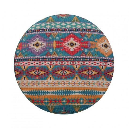Taburet rotund cu picioare din lemn, model multicolor, Malik
