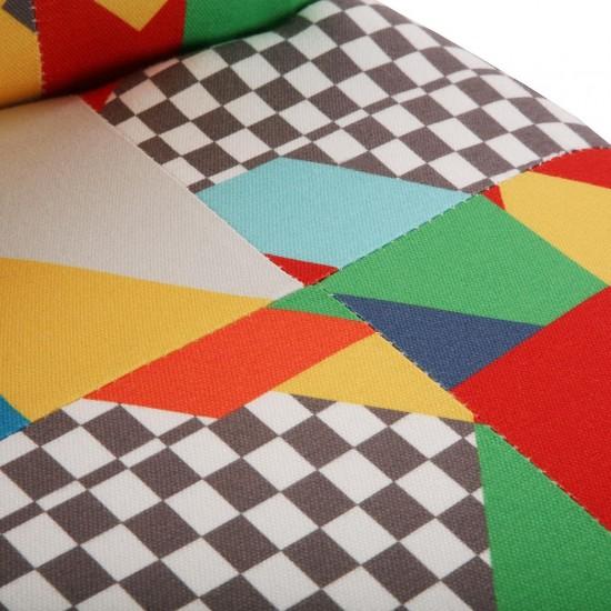 Fotoliu material textil multicolor, picioare lemn negru, BRAIS, 19501414