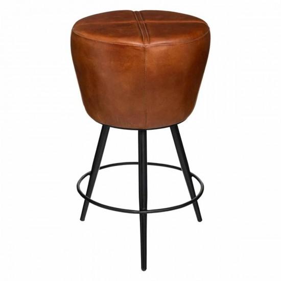 Scaun bar rotund, piele maro, metal negru, Cosme, 157285B