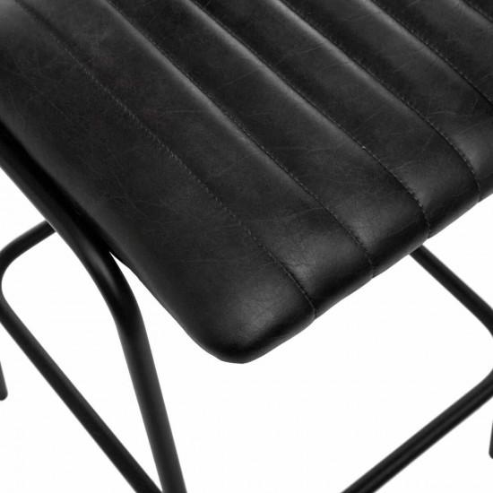 Scaun bar negru din piele, structura metal negru, Dario, 166523C