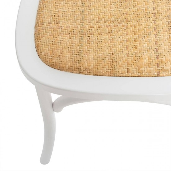 Scaun alb din lemn si ratan, Isak, 166636B