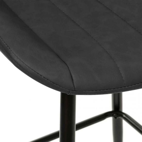 Scaun bar cu aspect de piele gri, picioare metal negru, Olwen, 179034B