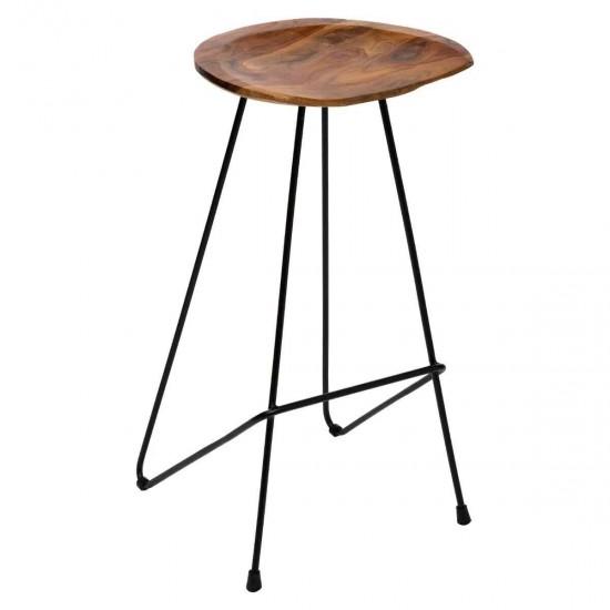 Scaun bar modern, lemn si metal negru, Sumar, 166779