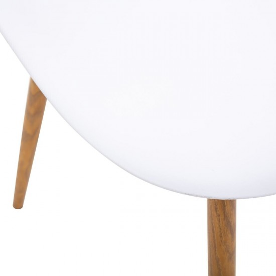 Scaun alb din polipropilena, picioare metal si MDF, Taho, 157268A