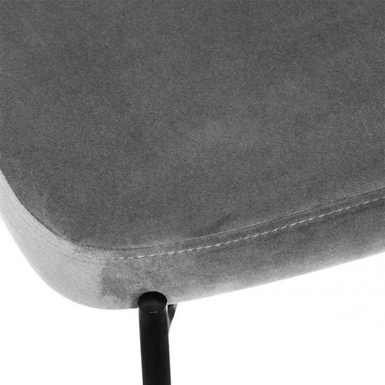 Scaun bar din catifea gri, structura metal negru, Thalia, 166778A