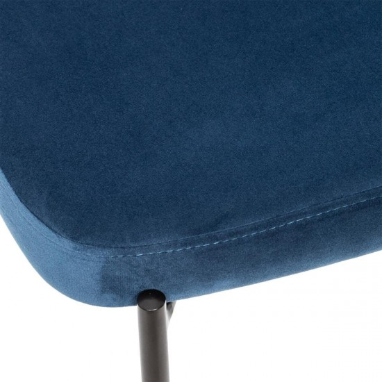 Scaun bar din catifea albastra, structura metal negru, Thalia, 166778B