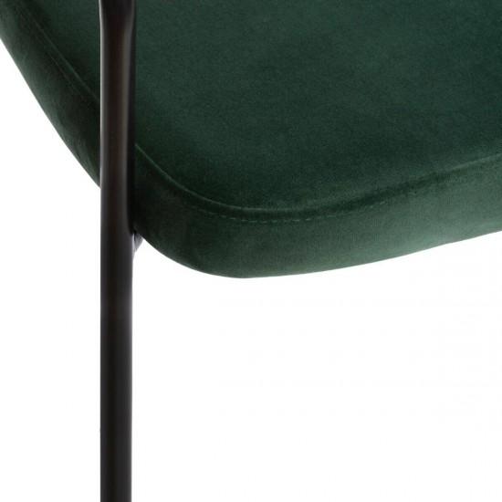 Scaun bar din catifea verde, structura metal negru, Thalia, 166778C