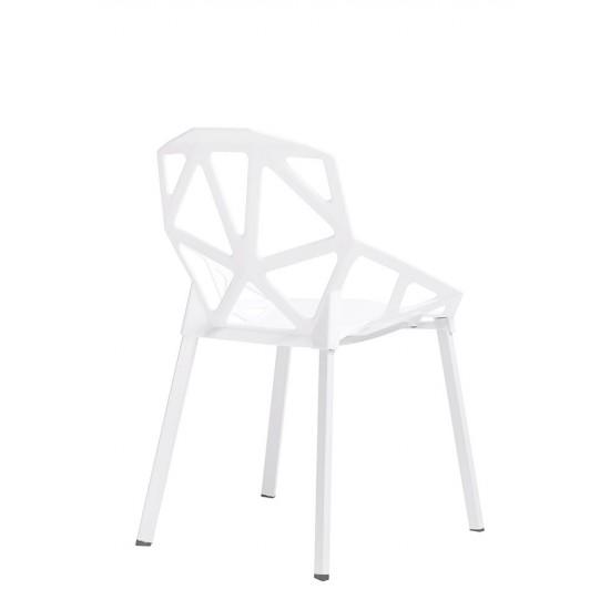 Scaun alb din polipropilena Split Mat, picioare metalice, C1023WH