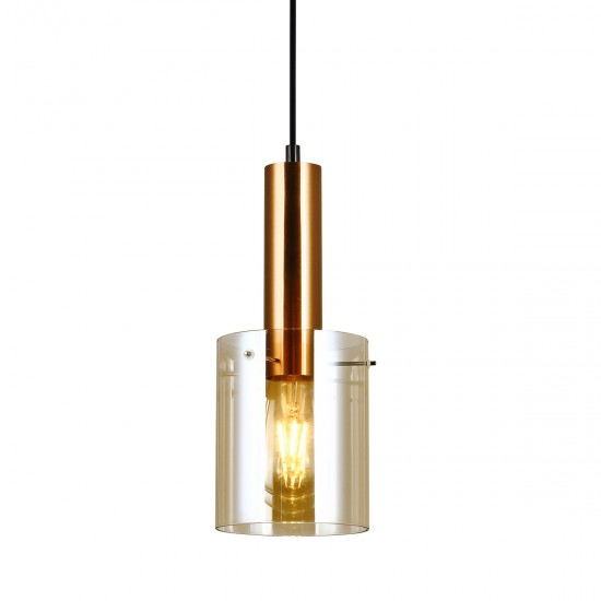 Suspensie Interior Sardo, alama, sticla ambra, 1XE27, 13 cm, PND-5581-1-BRO+AMB